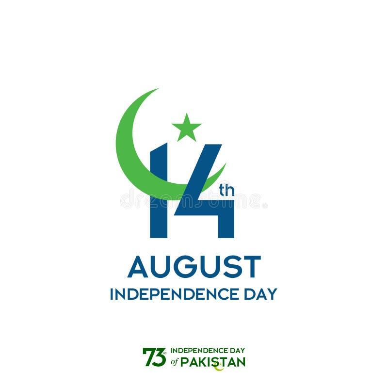 Conception de typographie de Jour de la Déclaration d'Indépendance du Pakistan Typographie créative de soixante-treizième Jour de illustration libre de droits