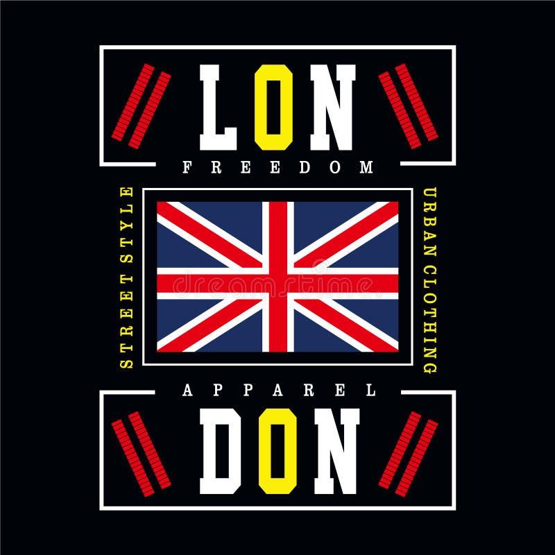 Conception de typographie de ville de Londres pour le T-shirt illustration libre de droits