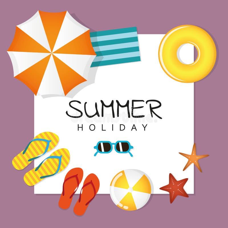 Conception de vacances d'été avec les étoiles de mer et le parapluie de boule de bascules électroniques de lunettes de soleil illustration libre de droits
