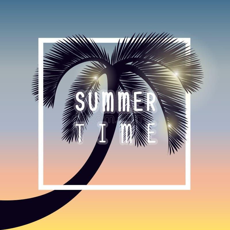 Conception de vacances d'heure d'été de silhouette de palmier illustration de vecteur