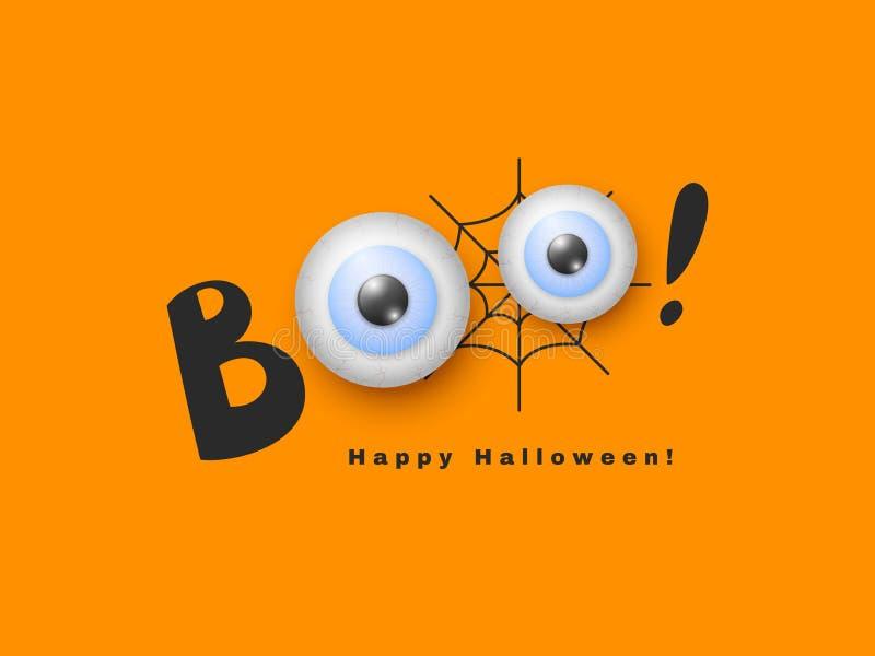 Conception de vacances de Halloween Tiré par la main huez avec les yeux 3d réalistes Toile d'araignée noire et fond orange, vecte illustration libre de droits
