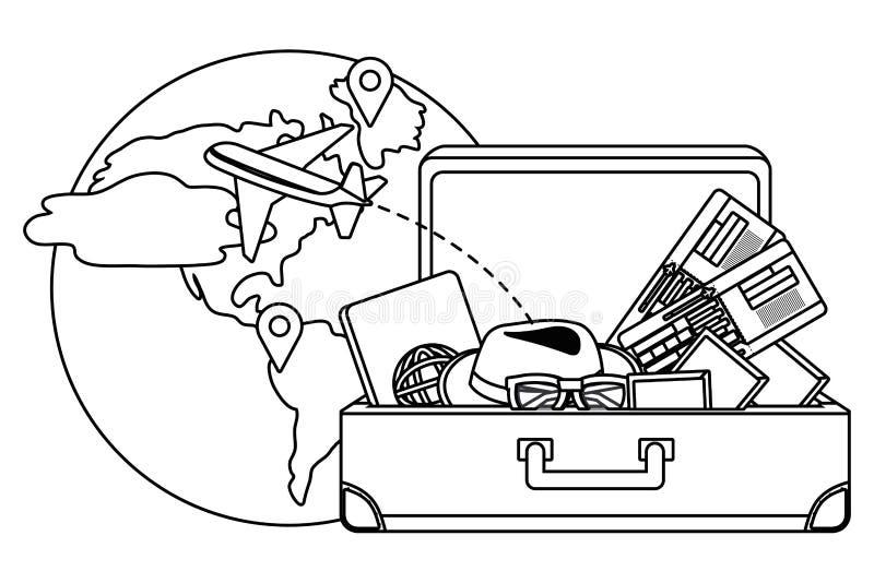 Conception de valise et de voyage illustration libre de droits