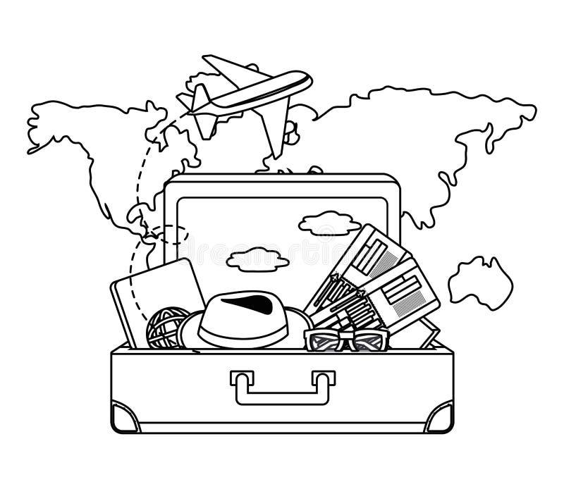 Conception de valise et de voyage illustration de vecteur