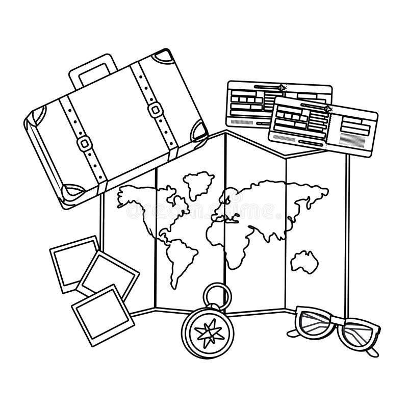 Conception de valise et de voyage illustration stock