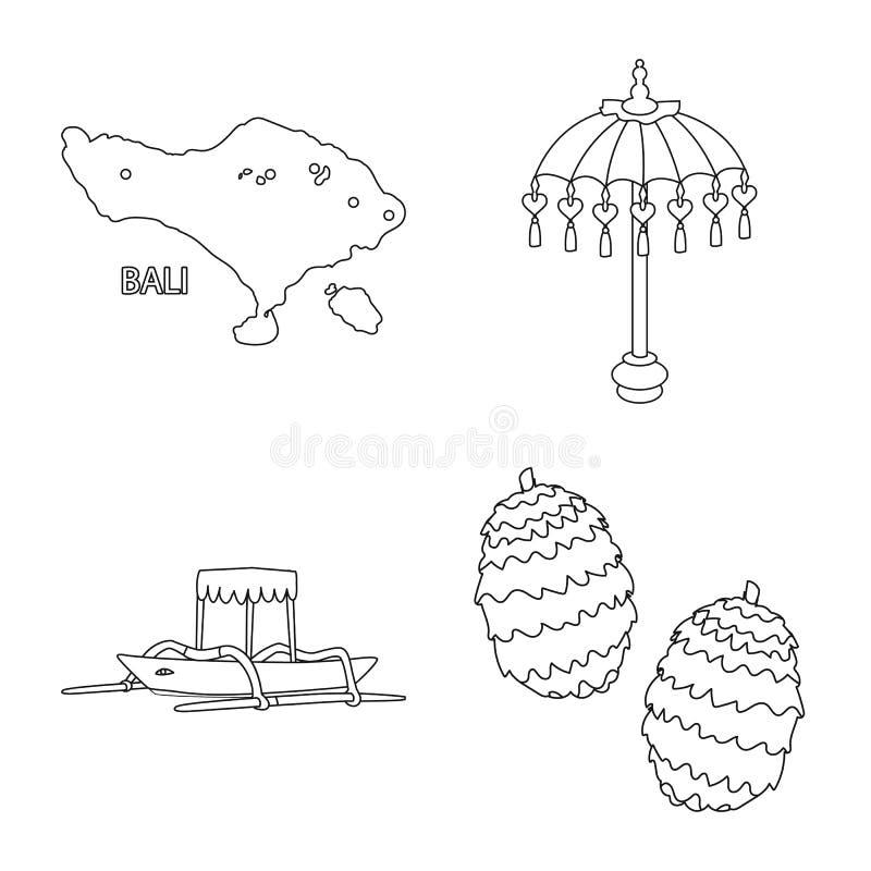 Conception de vecteur de balinese et de symbole des Cara?bes Placez de l'ic?ne de vecteur de balinese et de g?ographie pour des a illustration de vecteur