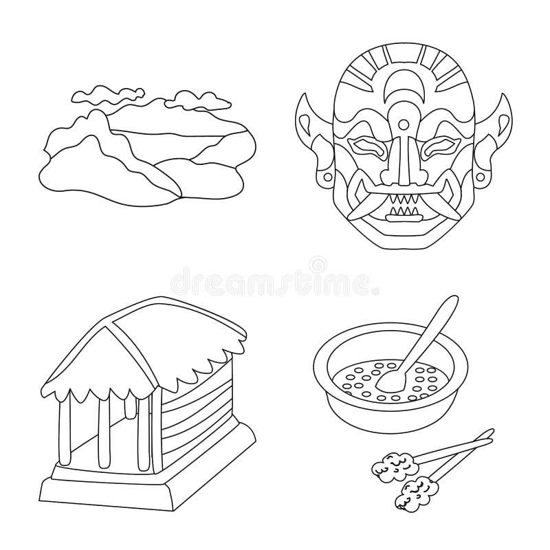 Conception de vecteur de balinese et de symbole des Cara?bes Placez de l'ic?ne de vecteur de balinese et de g?ographie pour des a illustration libre de droits