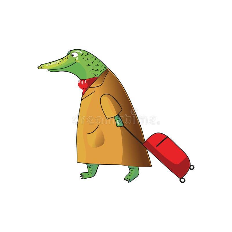Conception de vecteur de bande dessinée de crocodile humanisé avec la valise sur des roues Alligator vert dans le manteau brun et illustration libre de droits