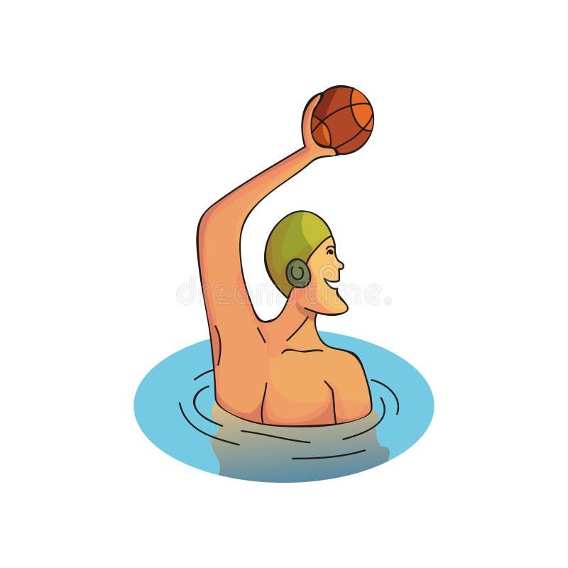 Conception de vecteur de bande dessinée de sportif professionnel jouant dans le polo d'eau Caractère masculin dans le chapeau en  illustration libre de droits