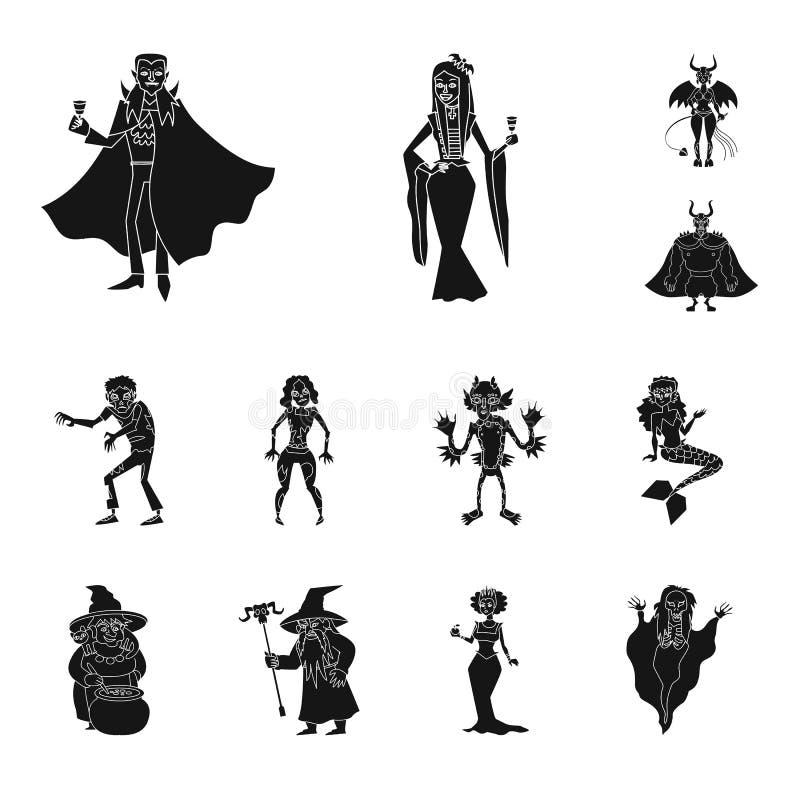 Conception de vecteur de créature et de signe de diablerie Placez de la créature et du symbole boursier de Halloween pour le Web illustration stock