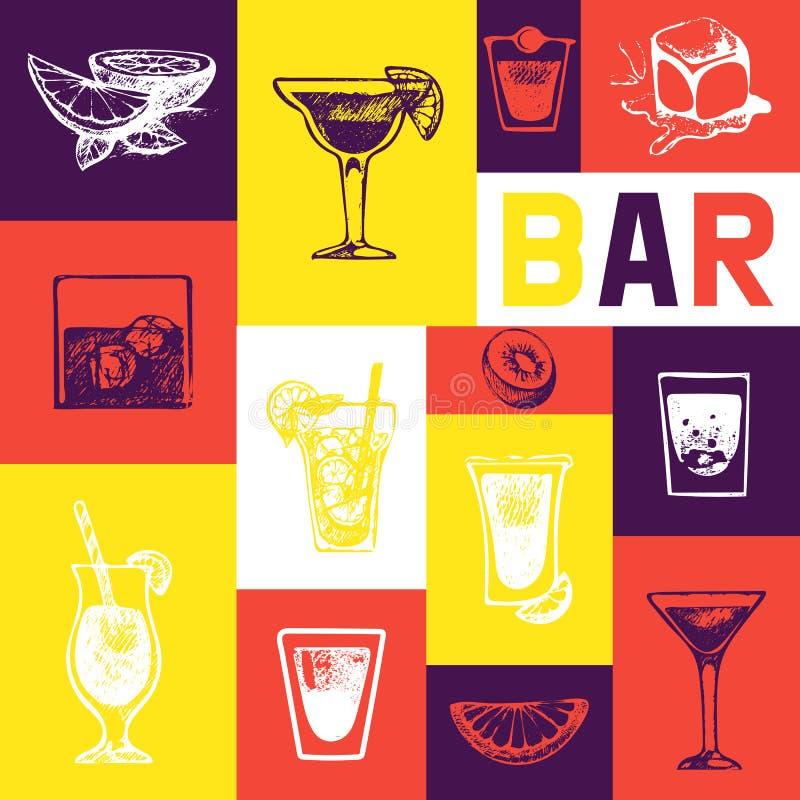 Conception de vecteur de cru de menu de barre Calibre de brochure de menu pour le café, restaurant, barres Rétros boissons alcool illustration de vecteur
