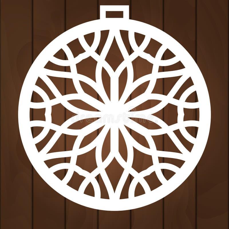 Conception de vecteur de décoration d'hiver Symbole de Noël pour la coupe de papier, le découpage du bois et la coupe de laser Bo illustration stock