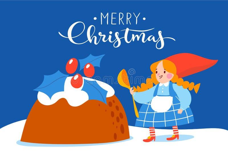 Conception de vecteur d'affiche de Noël avec le gnome de bande dessinée faisant cuire le gâteau pour le dîner de vacances illustration stock