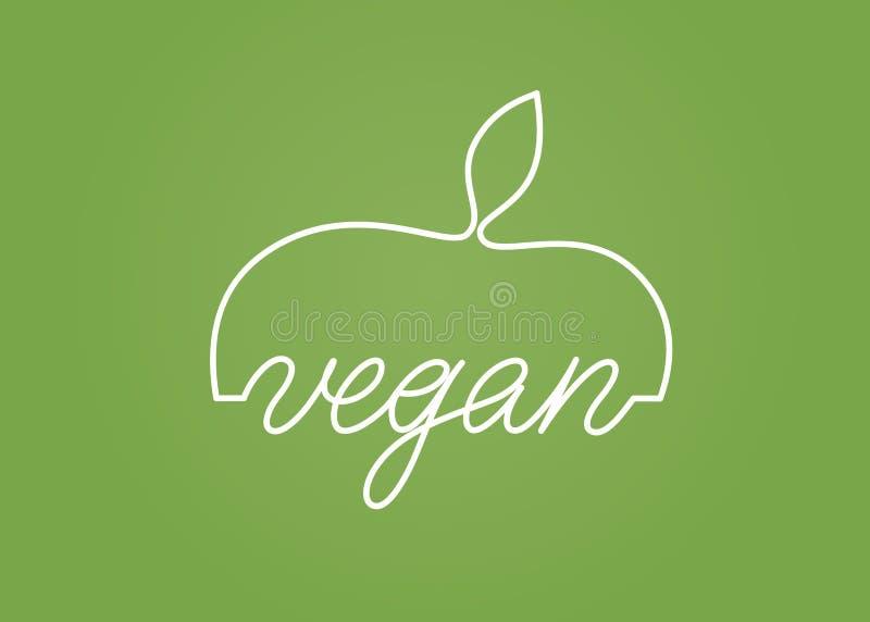 Conception de vecteur d'emblème de logo de Vegan illustration stock