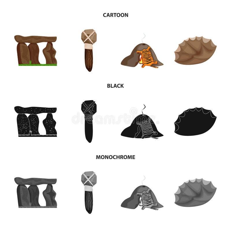 Conception de vecteur d'icône d'évolution et de préhistoire Collection d'icône de vecteur d'évolution et de développement pour de illustration stock