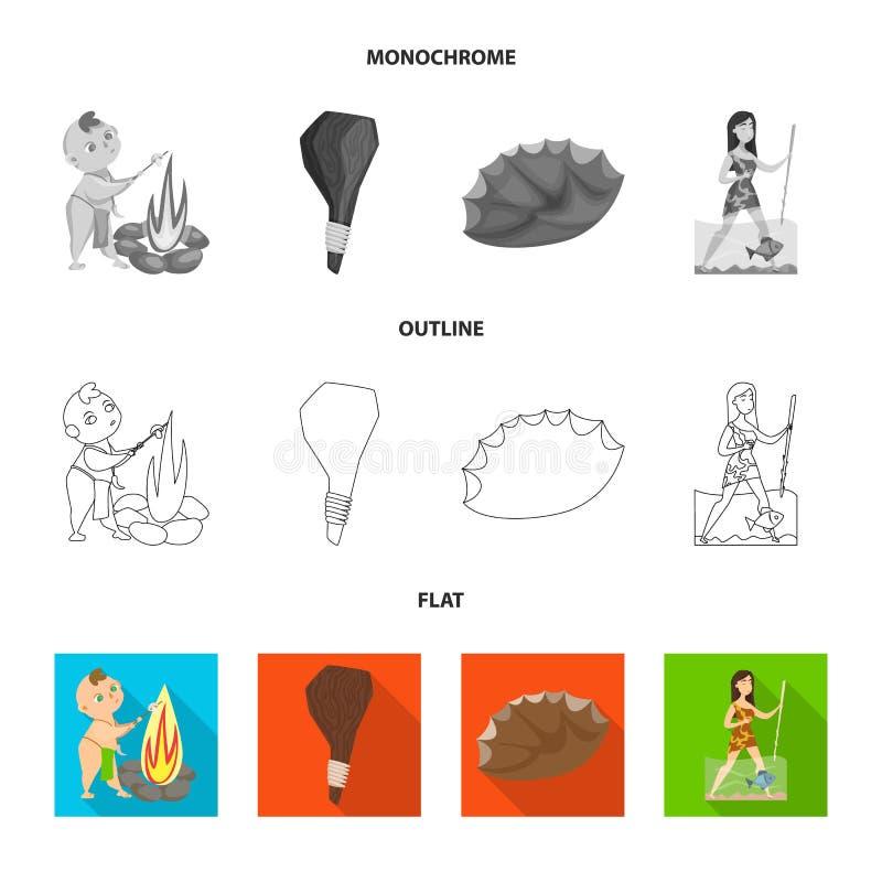 Conception de vecteur d'icône d'évolution et de préhistoire Placez de l'illustration courante de vecteur d'évolution et de dévelo illustration de vecteur