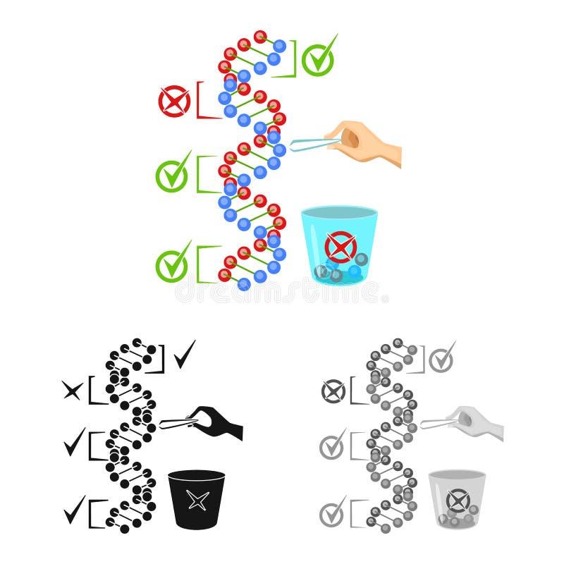 Conception de vecteur d'icône d'ADN et de gène Collection de l'ADN et de l'illustration courante de vecteur de biotechnologie illustration libre de droits