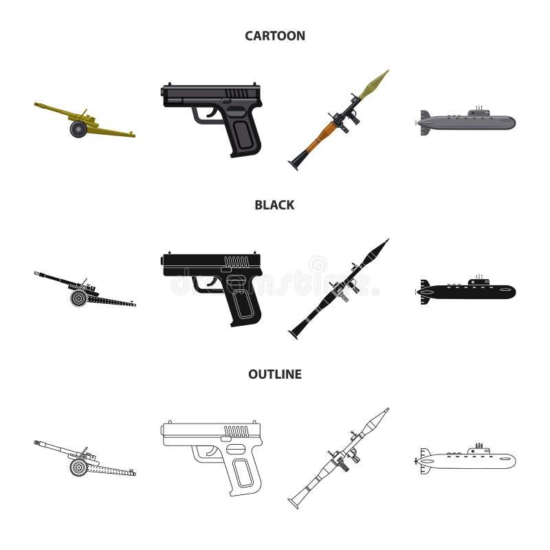 Conception de vecteur d'icône d'arme et d'arme à feu Collection d'icône de vecteur d'arme et d'armée pour des actions illustration stock
