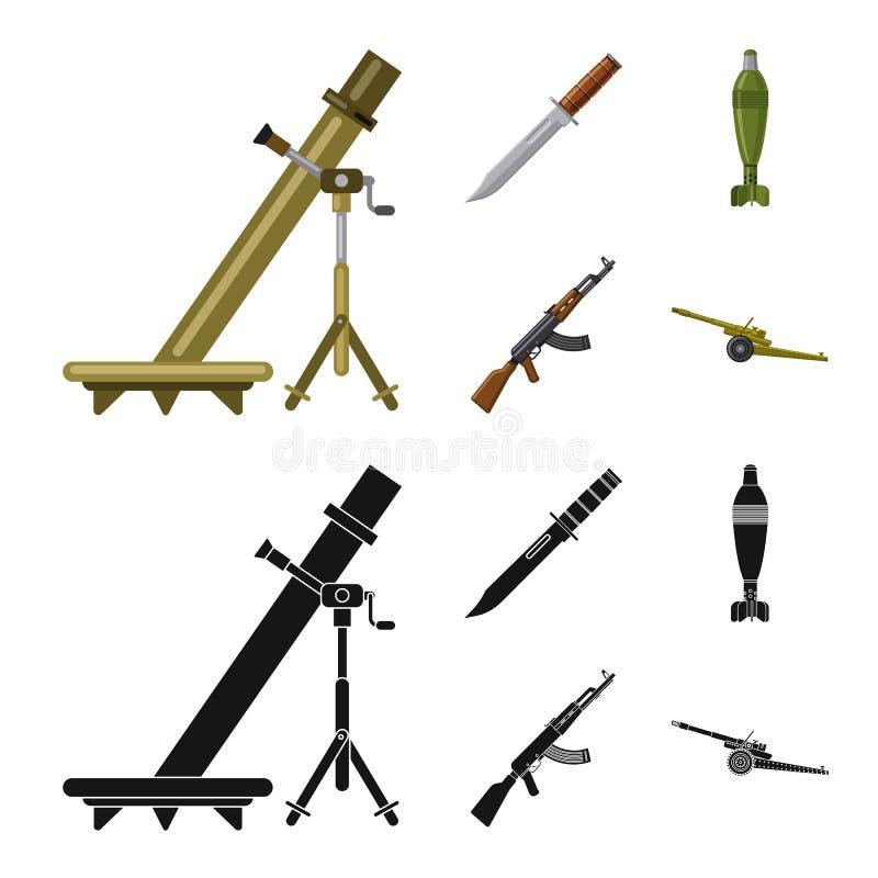 Conception de vecteur d'icône d'arme et d'arme à feu Collection de l'illustration courante de vecteur d'arme et d'armée illustration stock