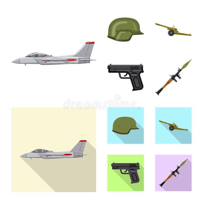 Conception de vecteur d'icône d'arme et d'arme à feu Collection de symbole boursier d'arme et d'armée pour le Web illustration stock