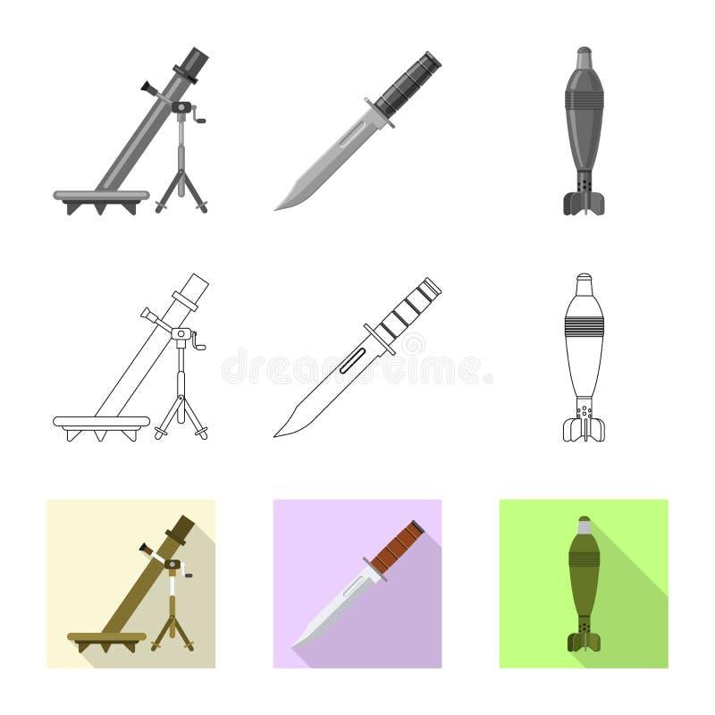 Conception de vecteur d'icône d'arme et d'arme à feu Collection de symbole boursier d'arme et d'armée pour le Web illustration de vecteur