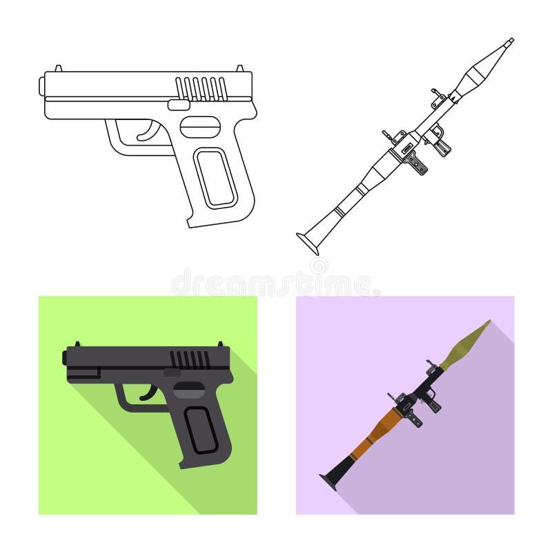 Conception de vecteur d'icône d'arme et d'arme à feu Ensemble d'icône de vecteur d'arme et d'armée pour des actions illustration libre de droits