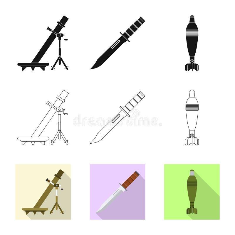 Conception de vecteur d'icône d'arme et d'arme à feu Ensemble d'icône de vecteur d'arme et d'armée pour des actions illustration de vecteur