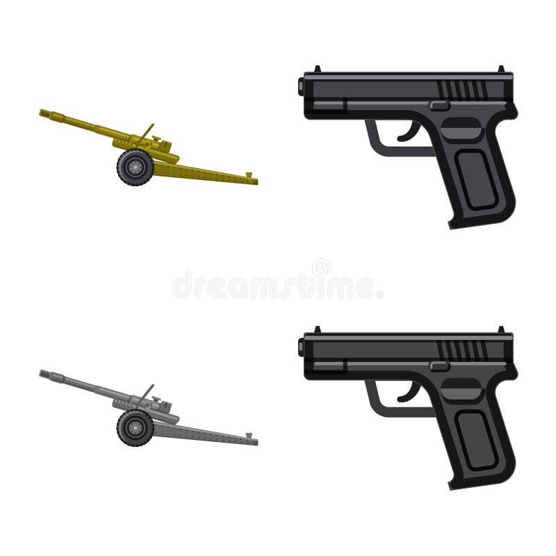 Conception de vecteur d'icône d'arme et d'arme à feu Ensemble d'illustration courante de vecteur d'arme et d'armée illustration libre de droits