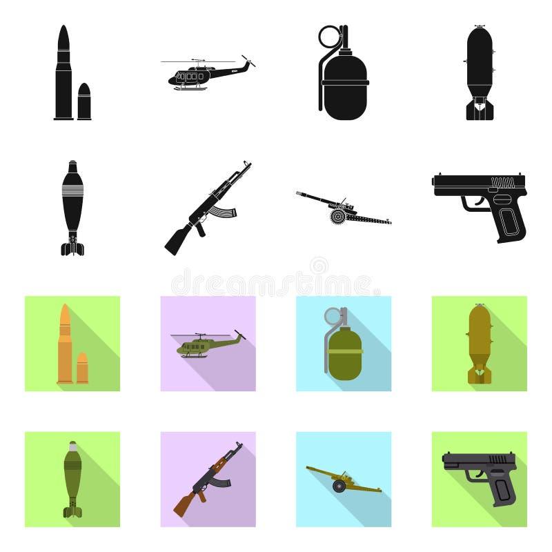 Conception de vecteur d'icône d'arme et d'arme à feu Ensemble de symbole boursier d'arme et d'armée pour le Web illustration stock