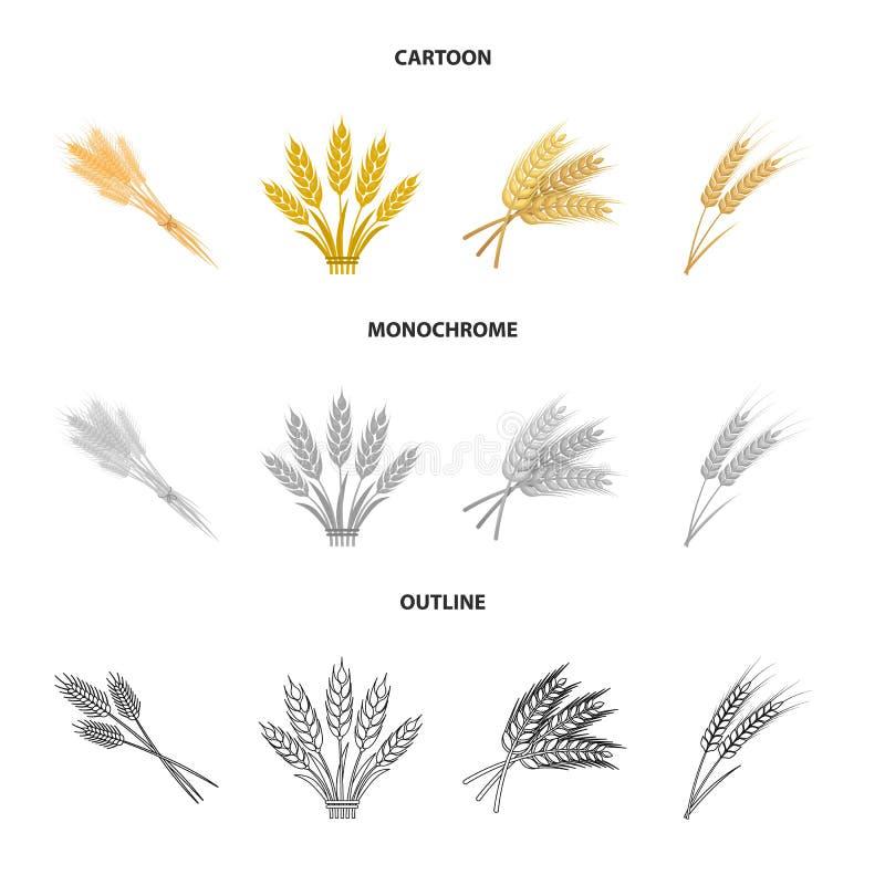 Conception de vecteur d'icône de blé et de tige Collection d'ic?ne de vecteur de bl? et de grain pour des actions illustration stock