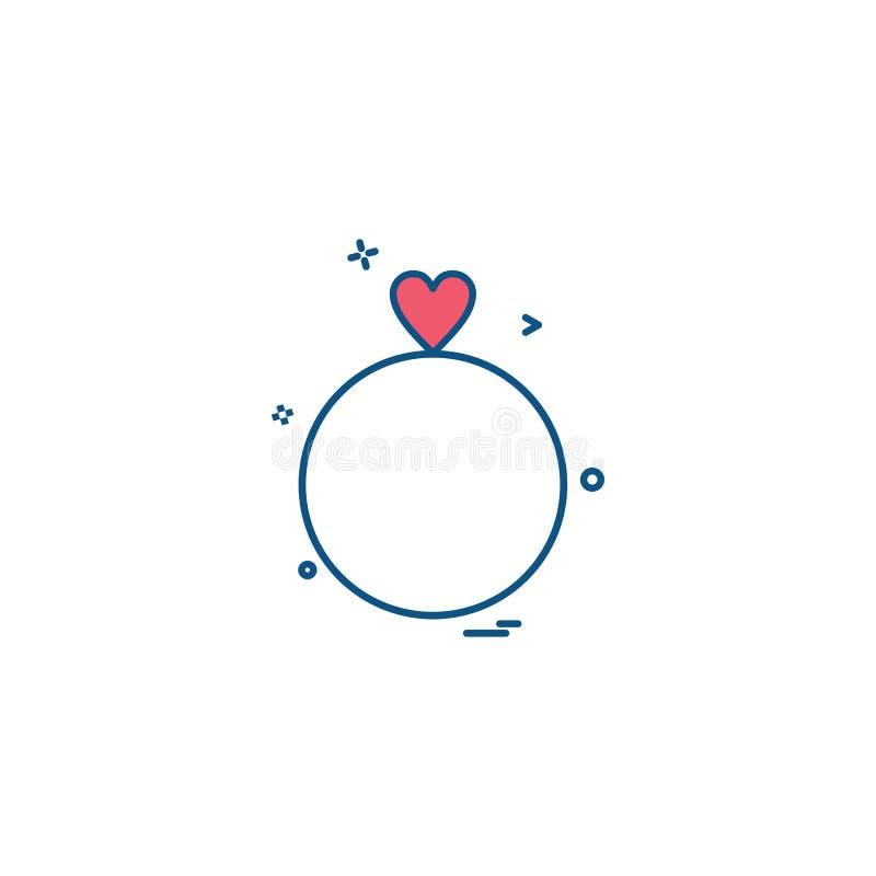 conception de vecteur d'icône de cadeau de coeur de l'anneau de la valentine illustration stock