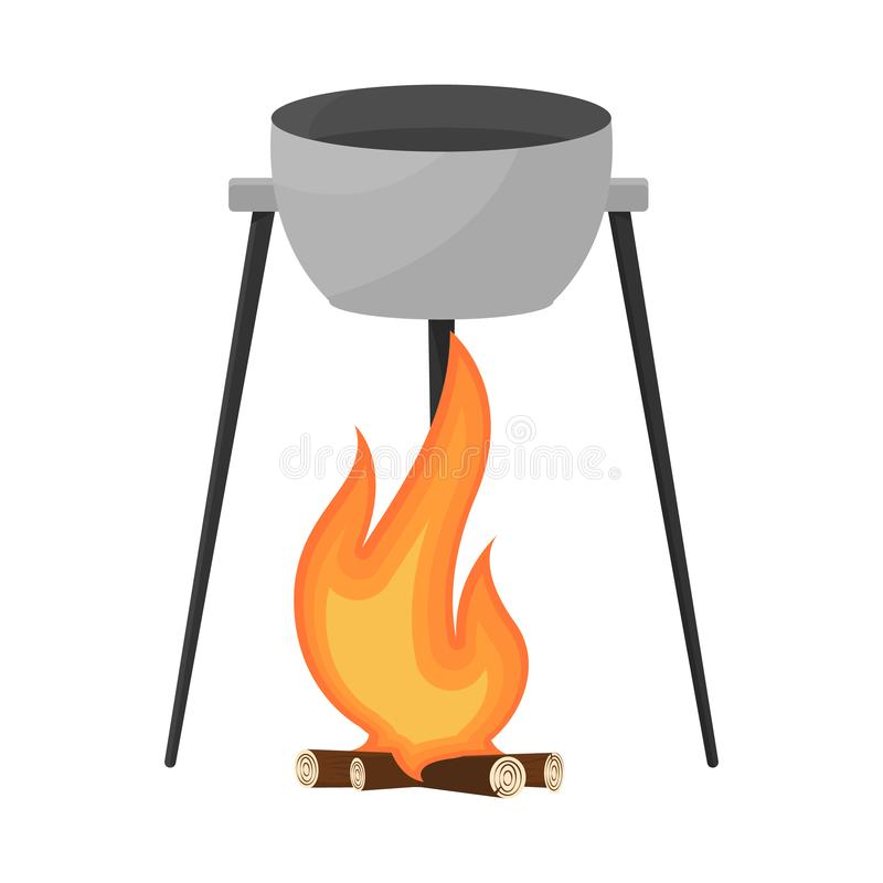 Conception de vecteur d'icône de chaudron et de feu Collection de l'illustration courante de vecteur de chaudron et de feu de cam illustration de vecteur
