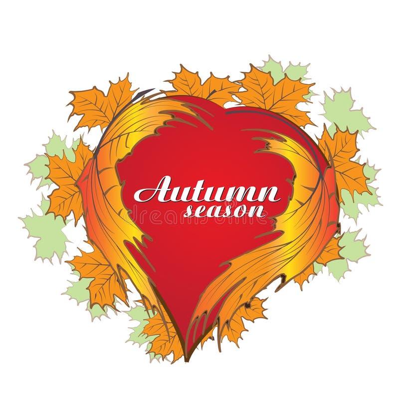 Conception de vecteur d'icône de feuilles de coeur de saison d'automne illustration stock