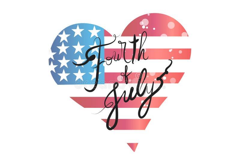 Conception de vecteur d'icône de logo de forme de coeur d'amour de drapeau des Etats-Unis illustration libre de droits