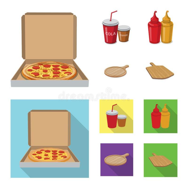 Conception de vecteur d'icône de pizza et de nourriture Ensemble de pizza et d'illustration courante de vecteur de l'Italie illustration de vecteur