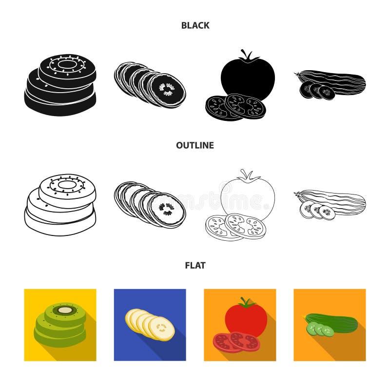 Conception de vecteur d'ic?ne de l?gume et de fruit Collection d'illustration de vecteur de bouillon de l?gume et de nourriture illustration stock