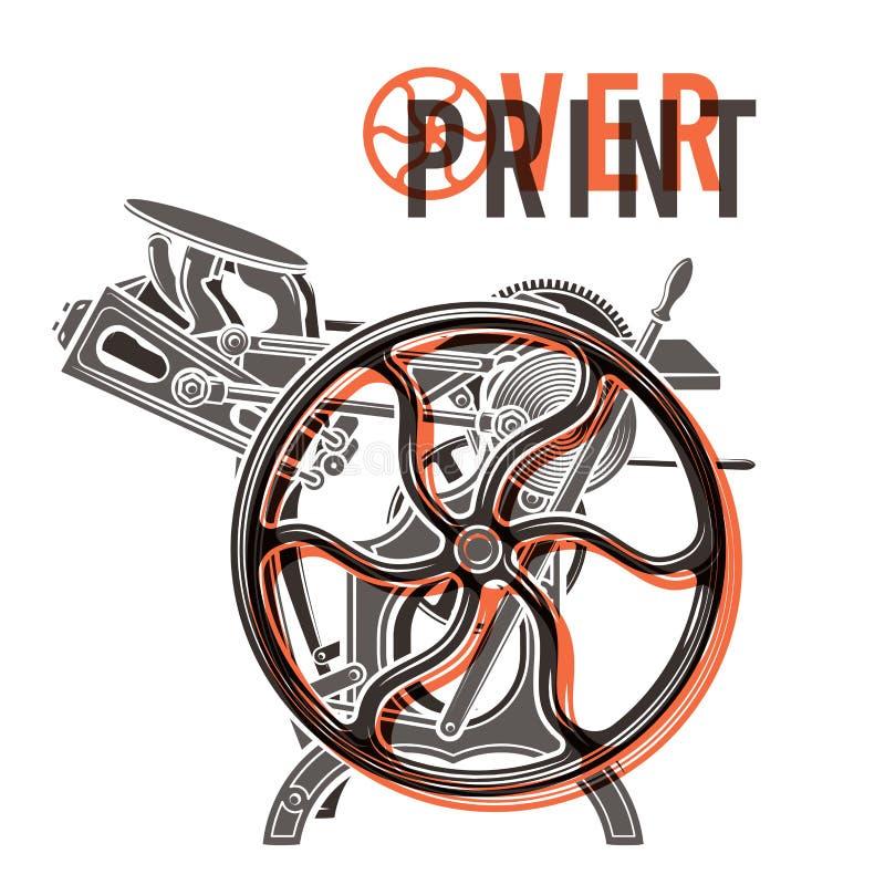 Conception de vecteur d'impression en surcharge d'impression typographique cru illustration de vecteur