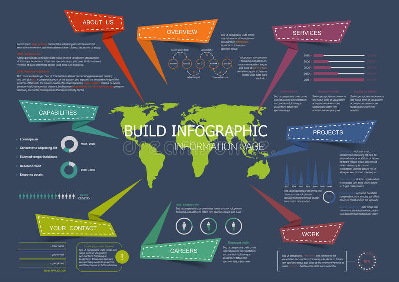 Conception de vecteur d'infographics de page d'atterrissage de site Web illustration stock