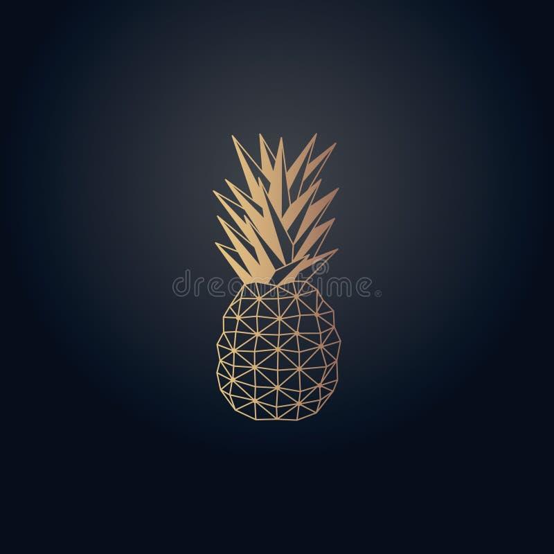Conception de vecteur d'origami d'ananas d'effet d'or photographie stock
