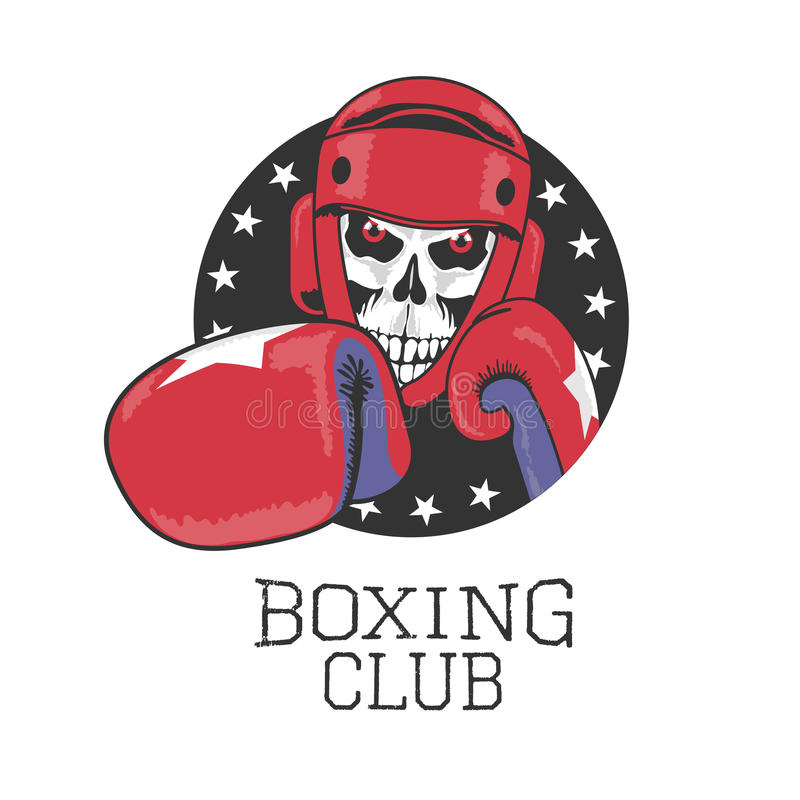 Conception de vecteur de club de boxe, signe, logo, label illustration de vecteur