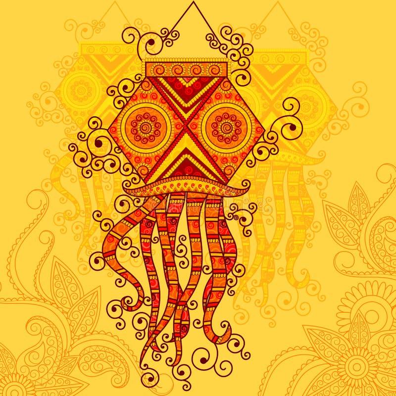 Conception de vecteur de lampe accrochante de Diwali illustration libre de droits