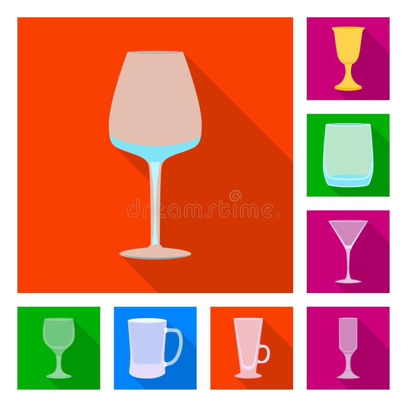 Conception de vecteur des boissons et du signe de restaurant Placez des boissons et de l'ic?ne de vecteur de c?l?bration pour des illustration stock