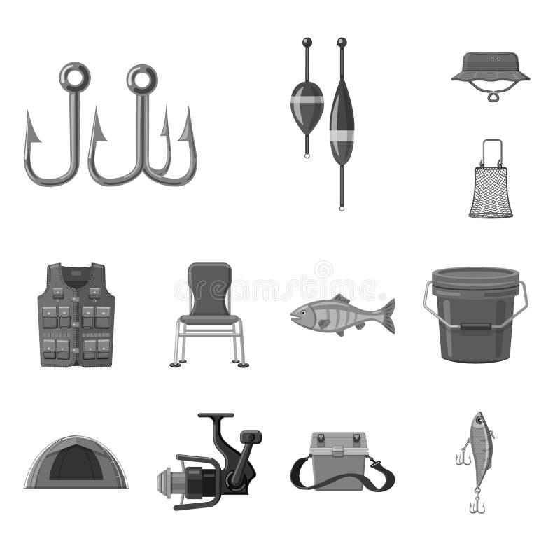 Conception de vecteur des poissons et du logo de pêche Ensemble d'icône de vecteur de poissons et d'équipement pour des actions illustration libre de droits