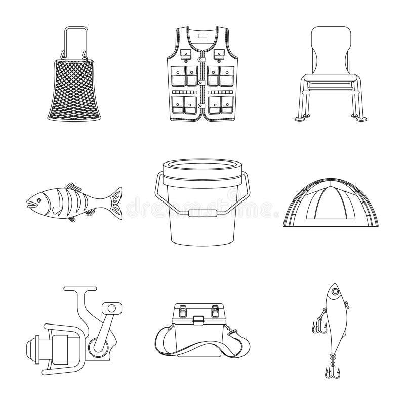 Conception de vecteur des poissons et du signe de pêche Collection d'icône de vecteur de poissons et d'équipement pour des action illustration libre de droits