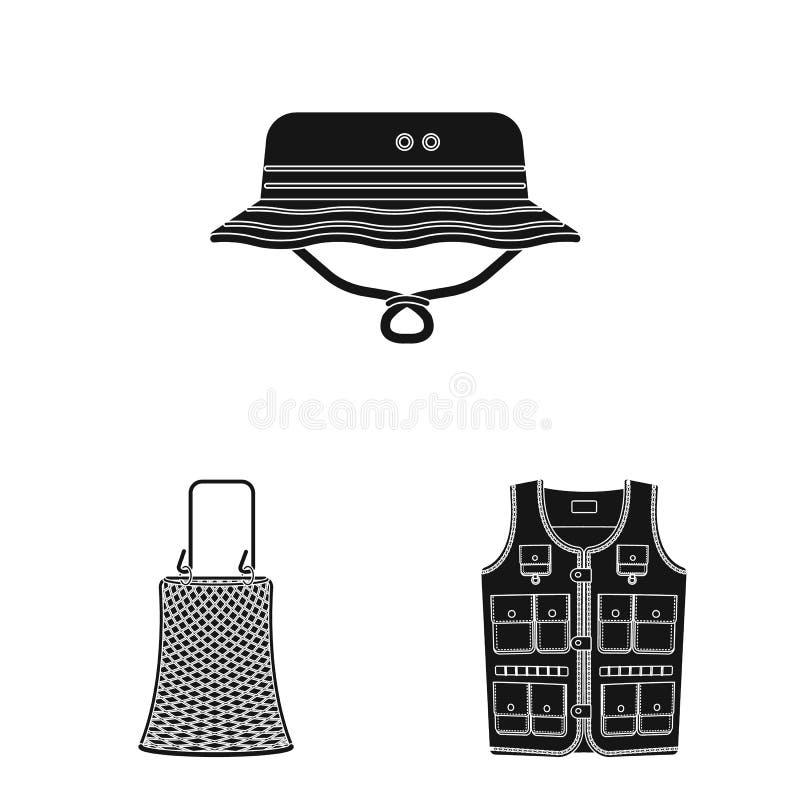 Conception de vecteur des poissons et de l'icône de pêche Collection d'icône de vecteur de poissons et d'équipement pour des acti illustration de vecteur