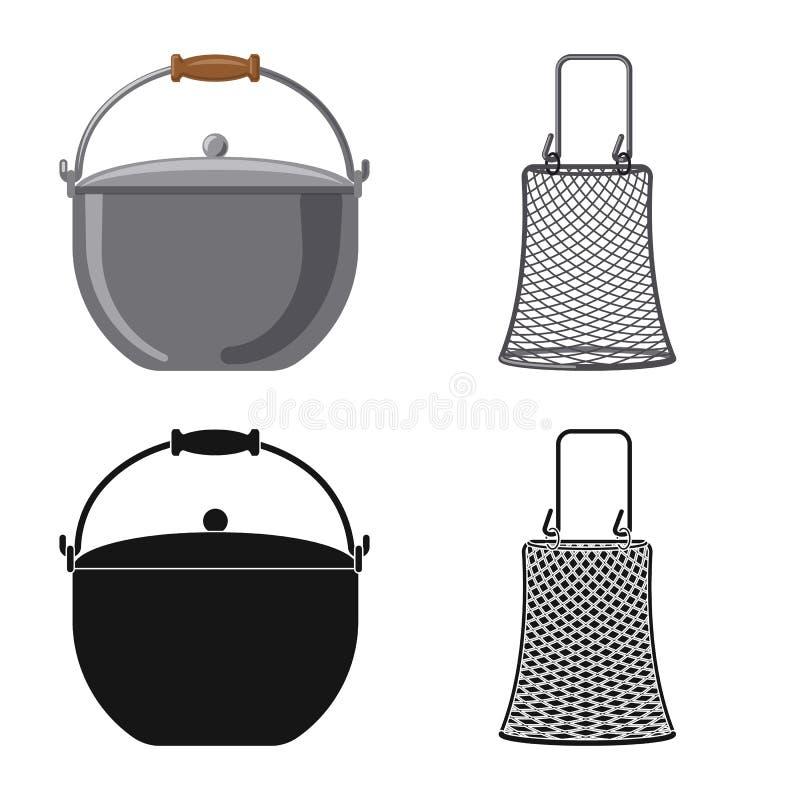 Conception de vecteur des poissons et de l'icône de pêche Ensemble d'icône de vecteur de poissons et d'équipement pour des action illustration de vecteur