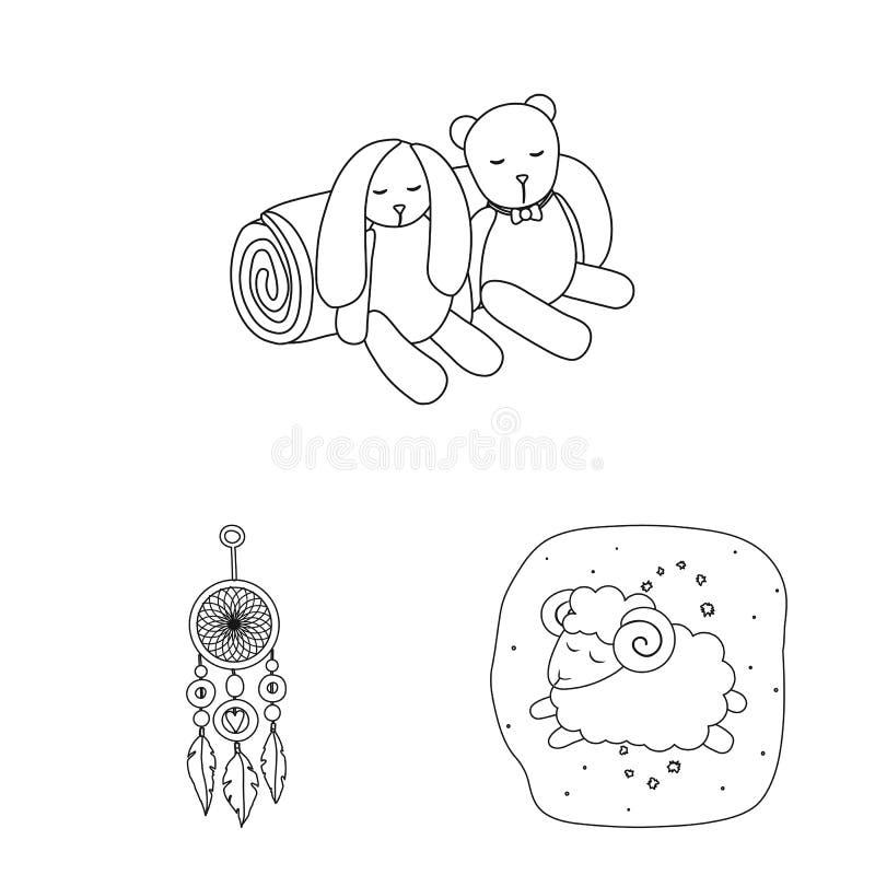 Conception de vecteur des rêves et du logo de nuit Ensemble de rêves et de symbole boursier de chambre à coucher pour le Web illustration de vecteur
