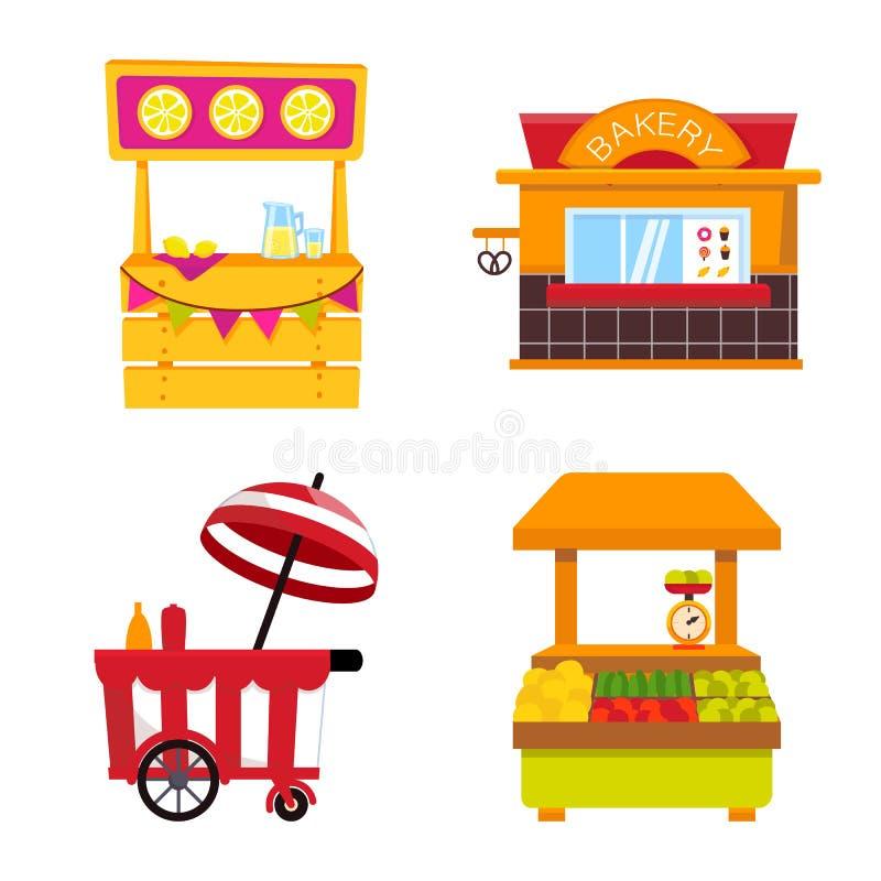 Conception de vecteur de et logo de cabine Placez de et en vendant l'illustration courante de vecteur illustration stock