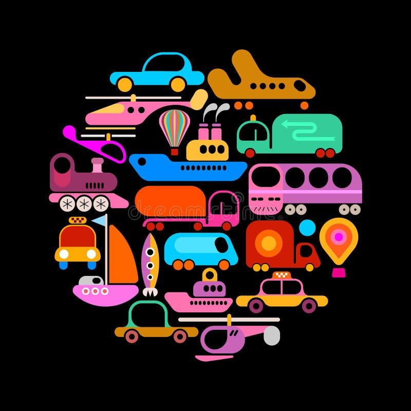 Conception de vecteur de forme ronde de transport illustration de vecteur