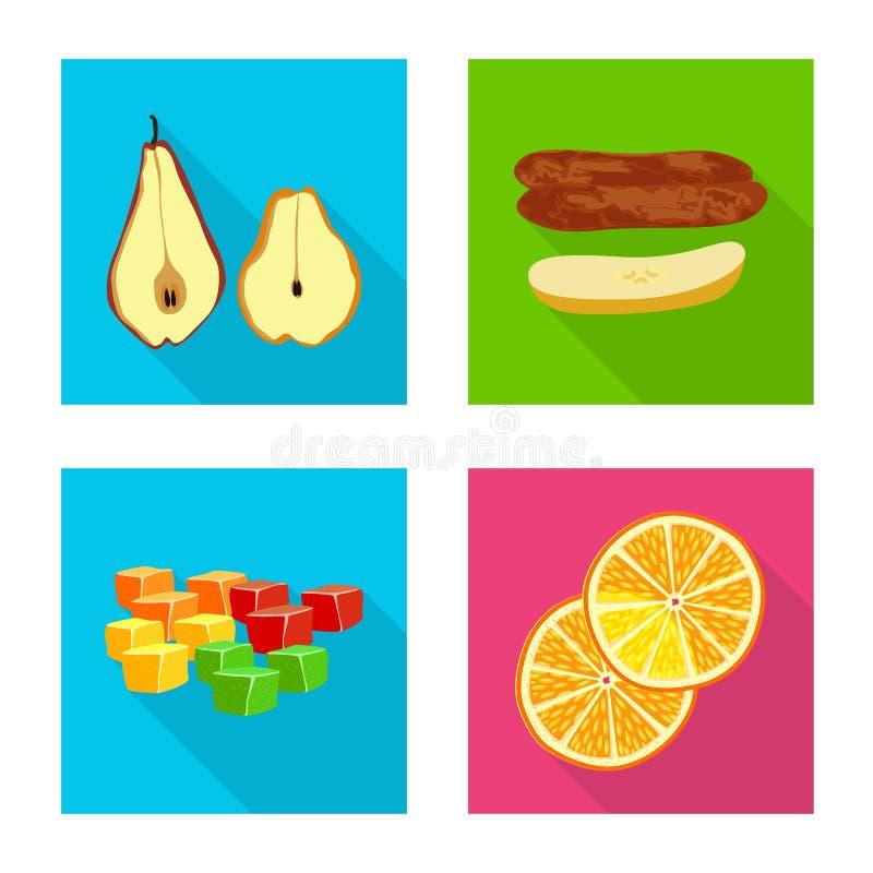 Conception de vecteur de fruit et d'ic?ne s?che Collection d'ic?ne de vecteur de fruit et de nourriture pour des actions illustration libre de droits