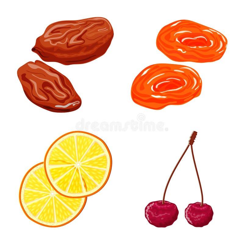 Conception de vecteur de fruit et de signe sec Collection d'ic?ne de vecteur de fruit et de nourriture pour des actions illustration stock